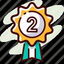 achievement, award, badge, place, prize, second