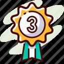 achievement, award, badge, place, prize, third