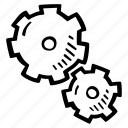 achievement, action, direction, gears, goal, success icon