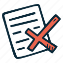 achievement, action, direction, document, goal, rejected, success icon