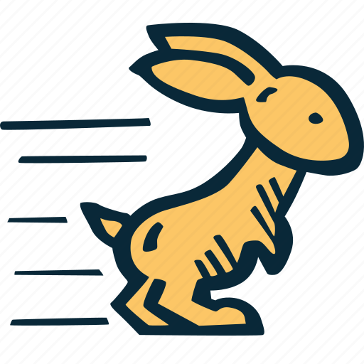 achievement, action, bunny, direction, goal, speed, success icon