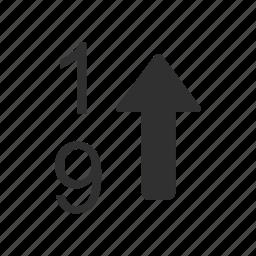 arrange, arrow up, numbers, sort icon