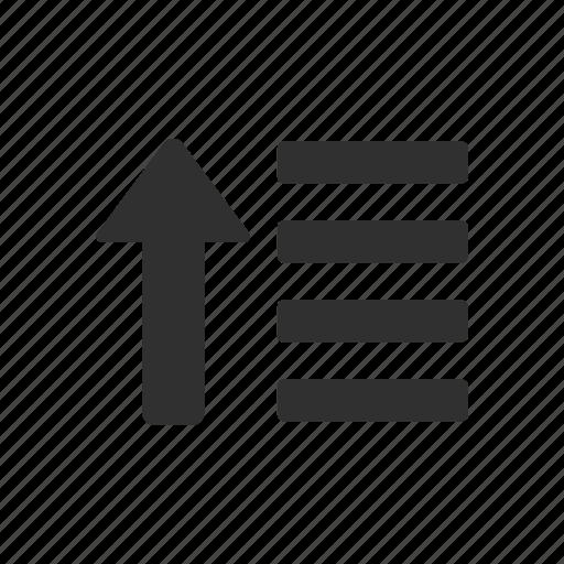 arrange, arrow up, ascend, sort icon