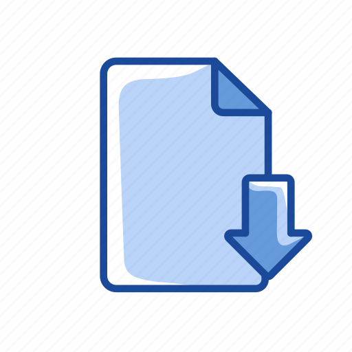 arrow down, document, download file, files icon
