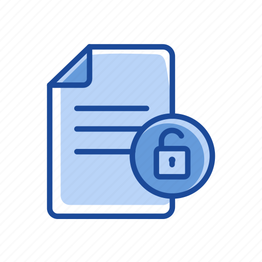 document, file, text security, unlock file icon