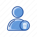 delete, profile, remove user, trash can icon