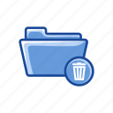 delete folder, eraser, file, folder, trash icon