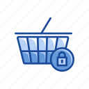 cart, grocery, online shopping, padlock icon