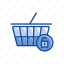 cart, shopping cart, unlock, unlock cart icon