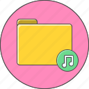 audio, folder, music icon
