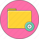 folder, gear, settings icon