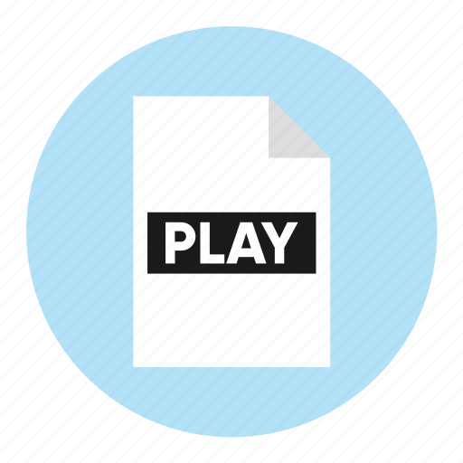 action, document, file, paper, play icon