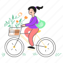 ecology, 2, activism, bike, bicycle, girl, plant, pot, flower, ride, eco, friendly, shopping icon