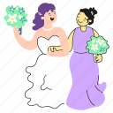 lgbt, wedding, 2, activism, gay, lesbian, couple, pride, love, flower, bouquet, woman, women icon