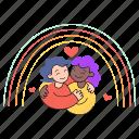 love, wins, activism, rainbow, hug, happy, heart, embrace, friends, couple