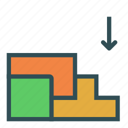 arrow, blocks, down, stair, tetris icon