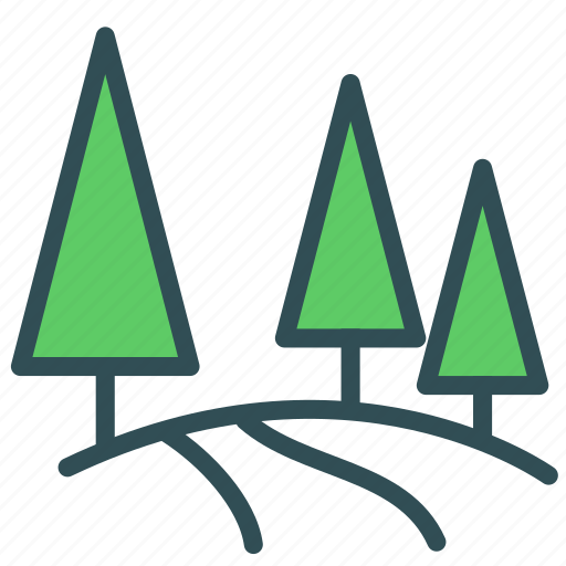 forest, mountain, nature, road, tree icon