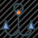 anchor, fishing, hook, sailing, water icon
