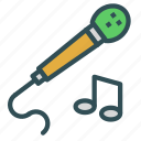 entertainment, microphone, music, note, play, sing icon