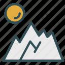 mountain, ski, sun, travel, vacation icon