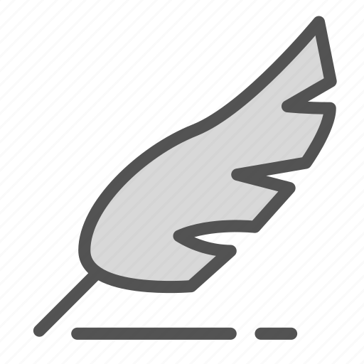 bird, feather, old, vintage, writing icon