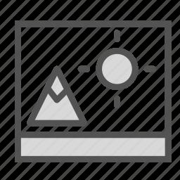 mountain, photo, picture, sun icon