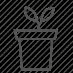 decoration, flower, leaf, plant, pot icon