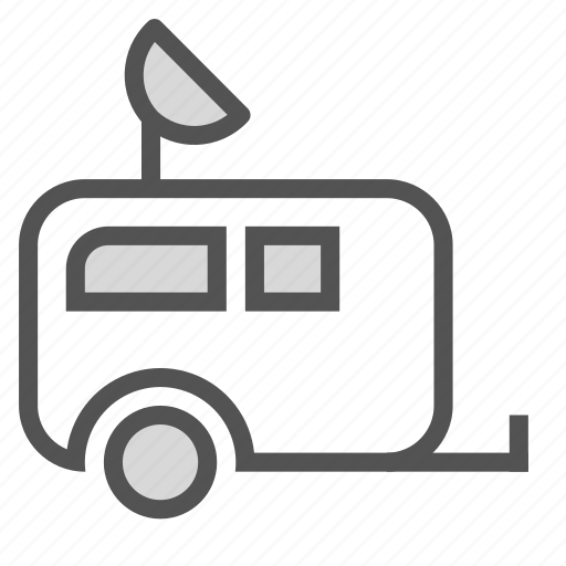 antenna, house, mobile, parabola, trailer, transport icon