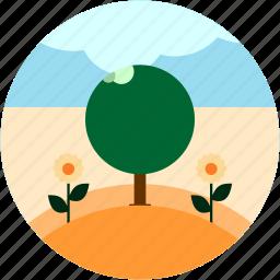 flowers, scene, tree icon
