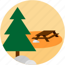 activities, camp, scene, table, tree icon
