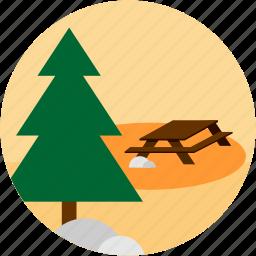 activities, camp, scene, table, tree icon