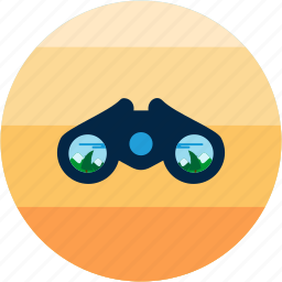 activities, binoculars, scene, view, zoom icon