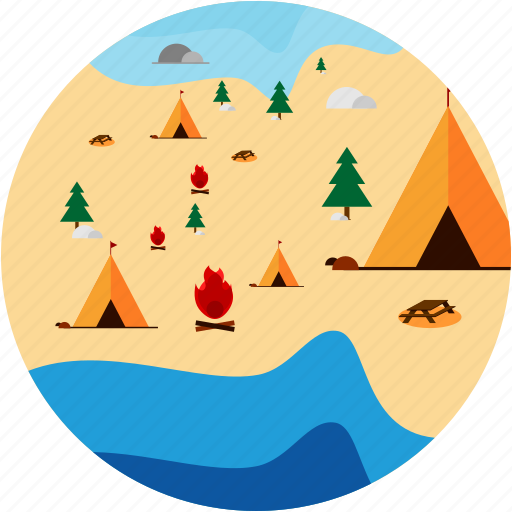 activities, camp, campfire, tent, trees icon