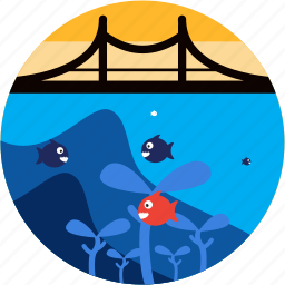 bridge, fishes, ocean, scene, sea icon