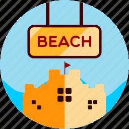 activities, beach, castle, sand, sunny icon