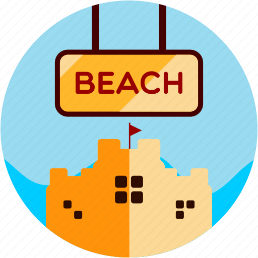 activities, beach, castle, sand, sunny icon