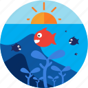 activities, diving, fish, scuba, sunny icon