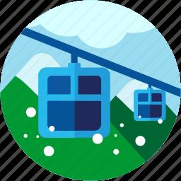 activities, alps, mountains, teleferic icon