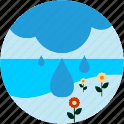 eco, enviroment, flowers, rain, sea icon