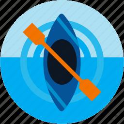 activities, kayak, kayaking, watersports icon