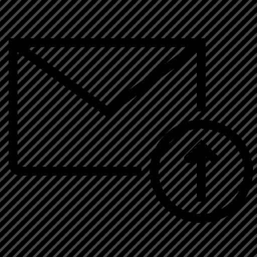 email, envelope, inbox, mail, upload icon