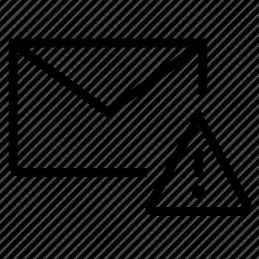 attention, email, envelope, error, inbox, mail icon