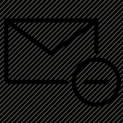 delete, email, envelope, inbox, message, minus, remove icon