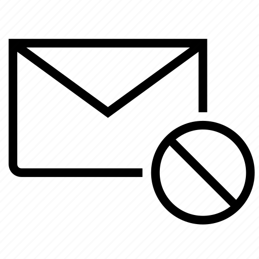 delete, email, envelope, mail, remove, stop icon