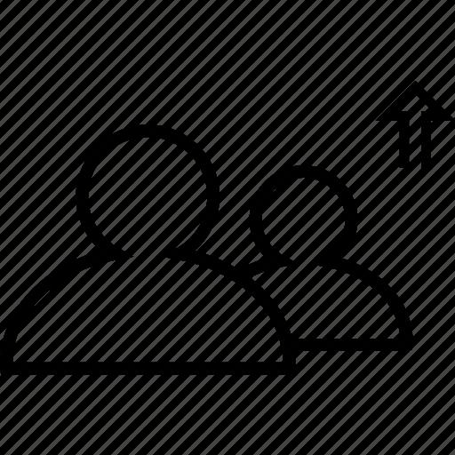 arrow, friendlist, friends, friendship, up icon
