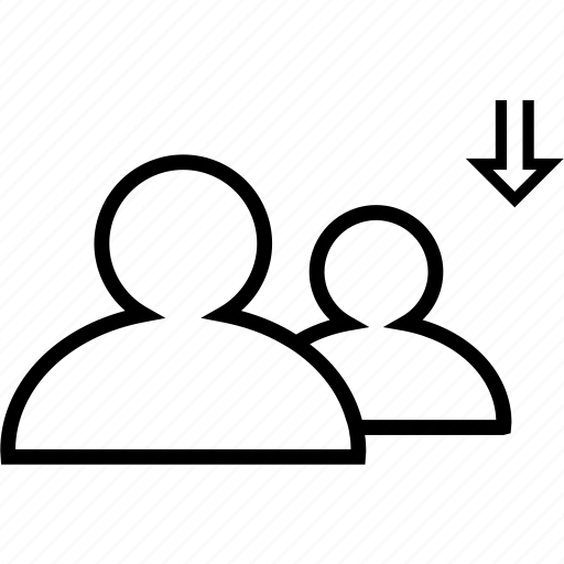 arrow, down, friendlist, friends, friendship icon