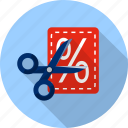 cut, discount, label, percent, scissor, shopping, tag icon