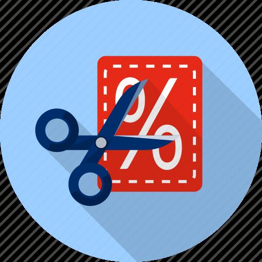 cut, discount, label, percent, scissor, shopping, tag icon