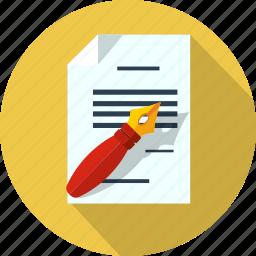 document, files, format, letter, message, pen, write icon