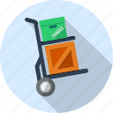 box, cart, delivery, distribution, fragile, logistics, truck icon